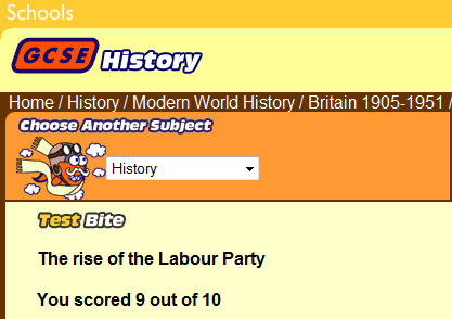 GCSE Bitesize, Rise of the Labour Party… 9/10? Get in!