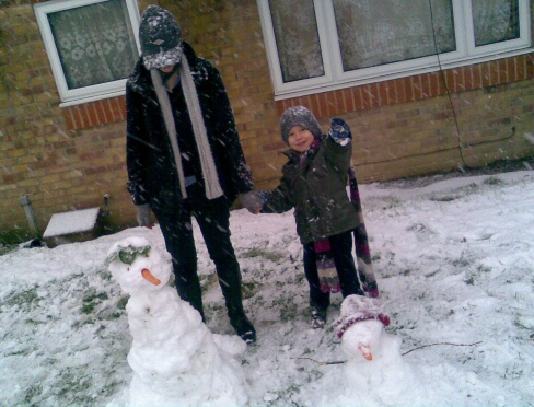 Saoirse and Sean with Snow Saoirse and Snow Sean