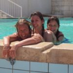 The girls in the (rather salty) pool