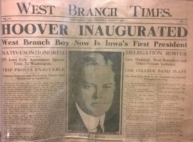 They were excited in West Branch, Iowa when native son Herbert Hoover became President. It didn't last.
