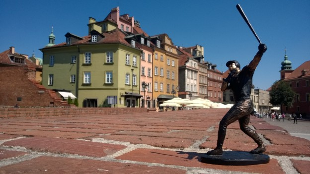 A baseball player (don't ask) in Warsaw's Old Town
