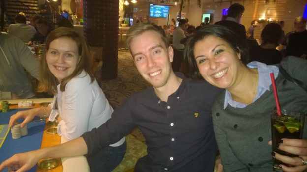 Caroline, Mark and Rossella in a Warsaw casino