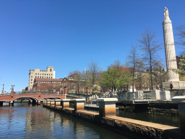 Providence, Rhode Island. Categorically not an island, but at least there's a river.