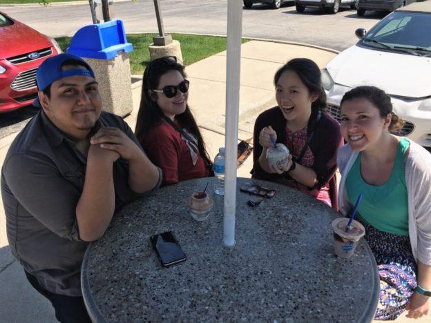 Rudy, Amanda, Melissa and Randi on a Culver's stop