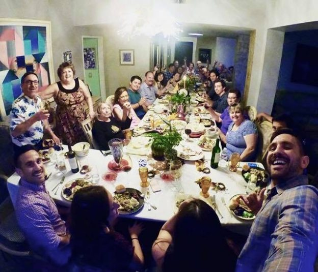A crowded Thanksgiving table
