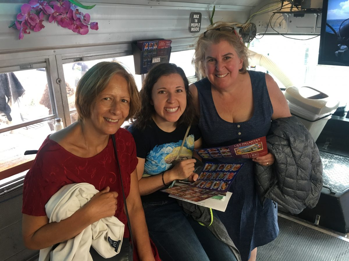 In the Las Palmitas Mexican food bus in West Yellowstone