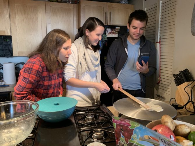 Lefse making with Catherine and AJ