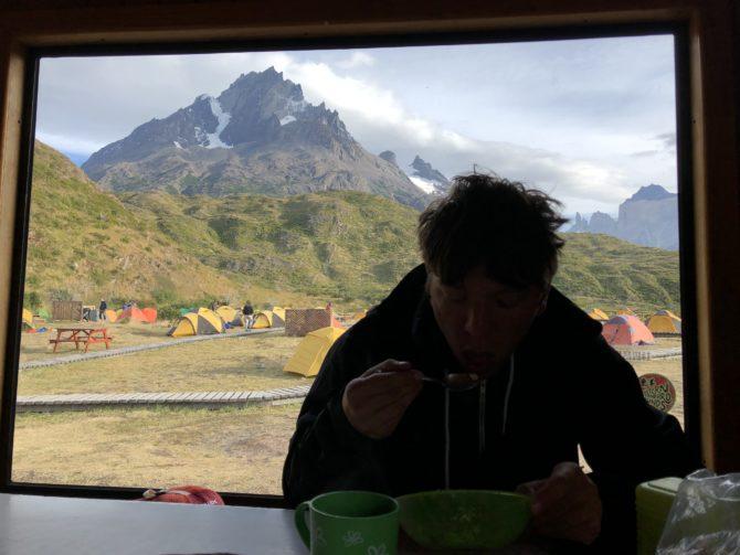 Tucking into porridge