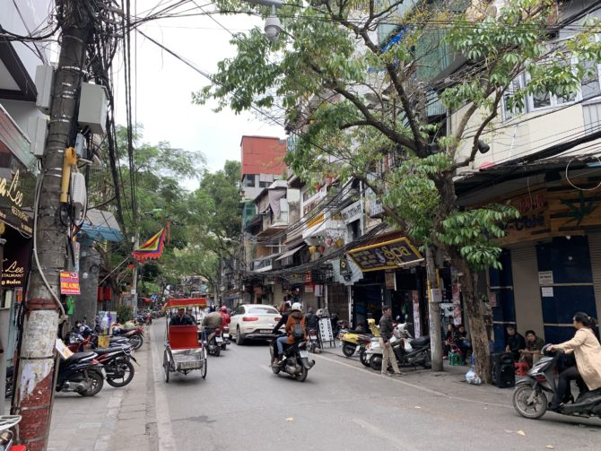 A typical street in Hanoi's Old Quarter