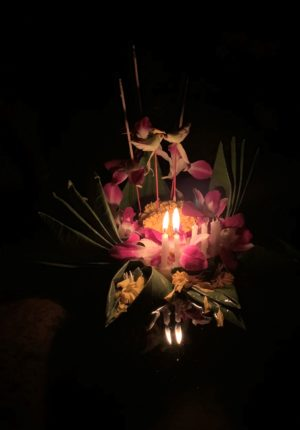 Our krathong, in a photo which hides some of the rough edges
