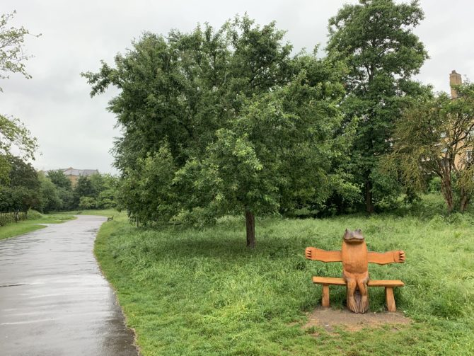 Even on a wet morning commute there are many joyful touches to appreciate in Brockwell Park